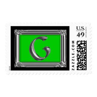 Silver Monogram Letter G Postage Stamp