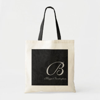 Silver Monogram on Black Damask Tote Bag