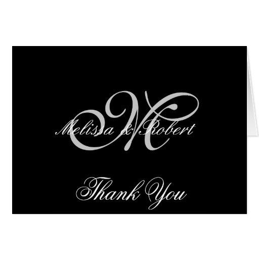 Silver Monogram on Black Polka Dots Greeting Card