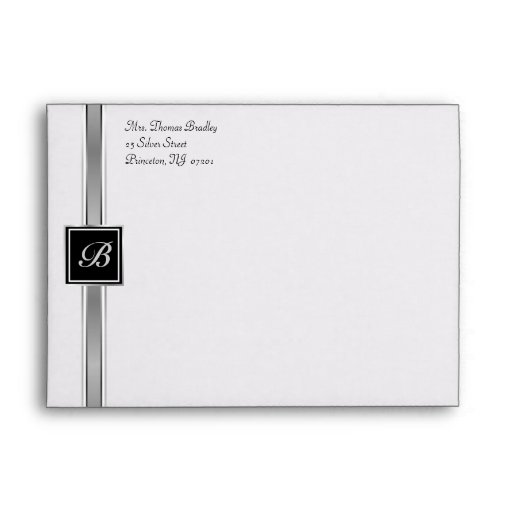 Silver Monogram Party Invitation Envelopes
