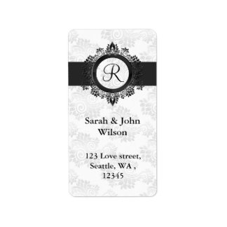 silver monogram return address label