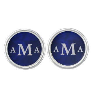 Silver Monogram Royal Blue Cufflinks