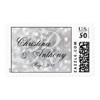 Silver Monogram Wedding Postage Stamps