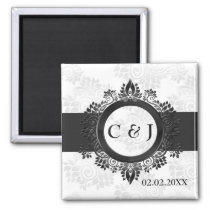 silver monogram wedding save the date magnets