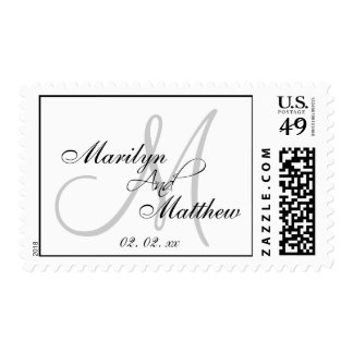 Silver Monogram Wedding Stamps | Custom