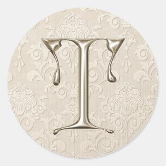 Silver Monogram Wedding Stickers - letter T