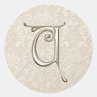 Silver Monogram Wedding Stickers - letter U