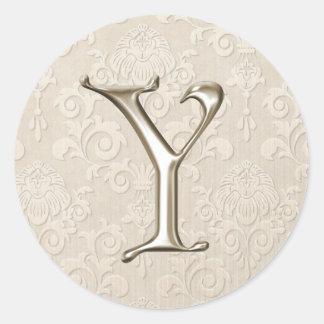 Silver Monogram Wedding Stickers - letter Y