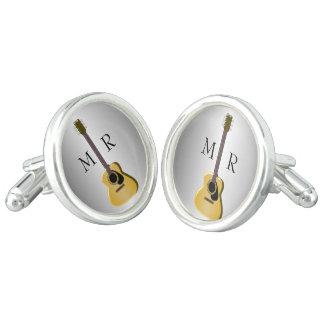 Silver Monogrammed Acoustic Guitar Cufflinks