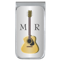 Silver Monogrammed Acoustic Guitar Silver Finish Money Clip