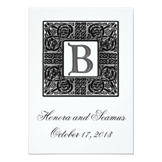 Silver Monogrammed Celtic Wedding Invitation