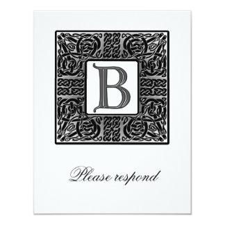 Silver Monogrammed Celtic Wedding RSVP Card