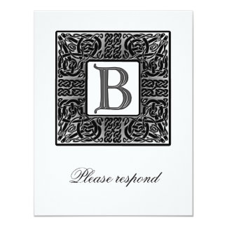 "Silver Monogrammed Celtic Wedding RSVP 4.25"" X 5.5"" Invitation Card"