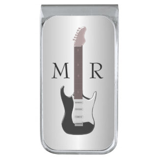 Silver Monogrammed Electric Guitar Silver Finish Money Clip