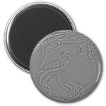 Silver Moon Dragon 2 Inch Round Magnet