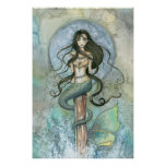 Silver Moon Mermaid Poster by Molly Harrison