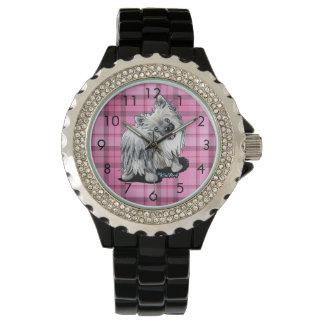 Silver Moon Pom Pink Plaid Watch