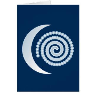 Silver Moon Spiral on dark blue Card