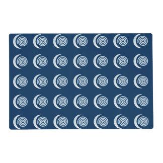 Silver Moon Spiral on dark blue Placemat