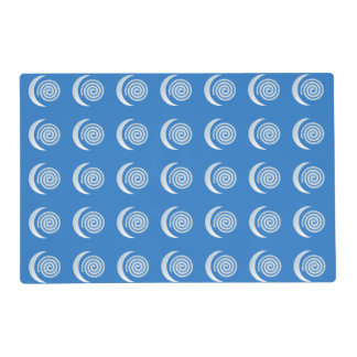 Silver Moon Spiral on deep blue Placemat