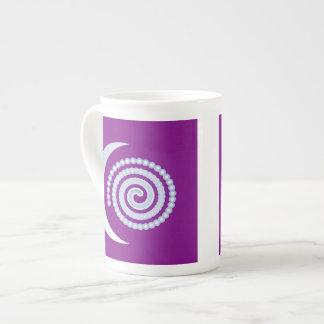 Silver Moon Spiral on purple Tea Cup