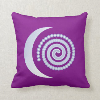 Silver Moon Spiral on purple Throw Pillow