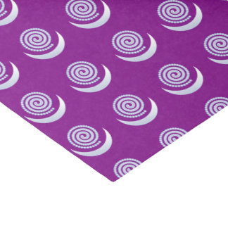 Silver Moon Spiral on purple Tissue Paper