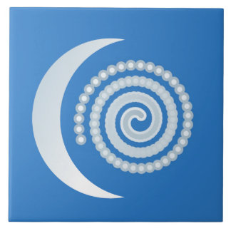 Silver Moon Spiral Large Square Tile