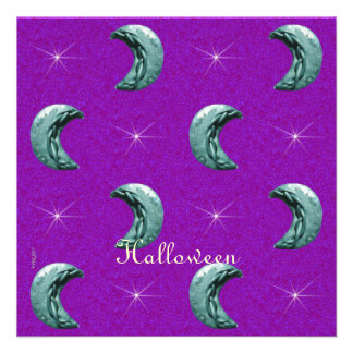 Silver Moons Pattern Halloween Purple Background Announcements