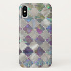 Silver moroccan pattern pearl and rose shell iPhone x case