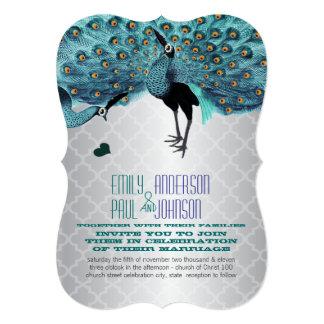 Silver Moroccan Tile Aqua & Coral Peacock Wedding 5x7 Paper Invitation Card