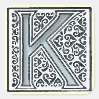 silver mosaic tiles monogram - square stickers