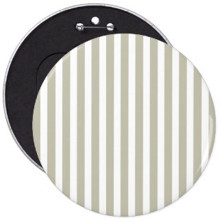 Silver Moss And White Cabana Stripe Pattern 6 Inch Round Button