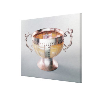 Silver mounted mother-of-pearl wassail bowl canvas print