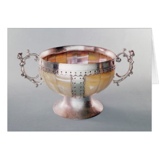 Silver mounted mother-of-pearl wassail bowl card
