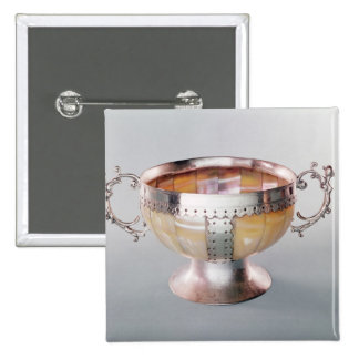 Silver mounted mother-of-pearl wassail bowl pinback button