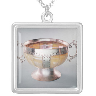 Silver mounted mother-of-pearl wassail bowl silver plated necklace