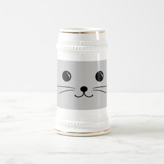 Silver Mouse Cute Animal Face Design Beer Stein