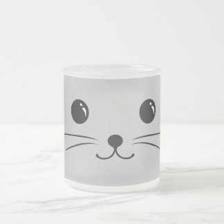 Silver Mouse Cute Animal Face Design Frosted Glass Coffee Mug