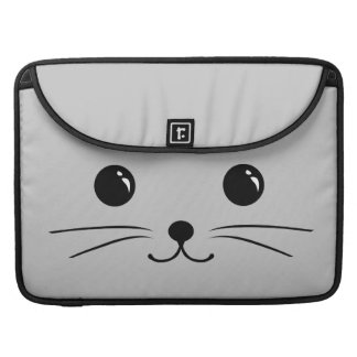 Silver Mouse Cute Animal Face Design Sleeve For MacBooks