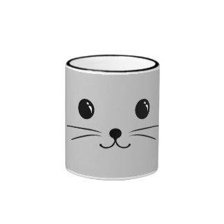 Silver Mouse Cute Animal Face Design Ringer Mug