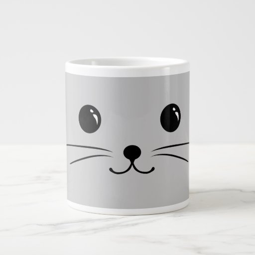 Silver Mouse Cute Animal Face Design Extra Large Mugs