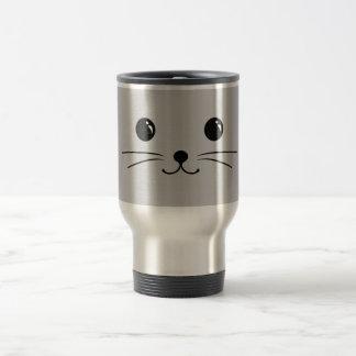 Silver Mouse Cute Animal Face Design Travel Mug