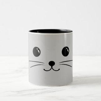 Silver Mouse Cute Animal Face Design Two-Tone Coffee Mug