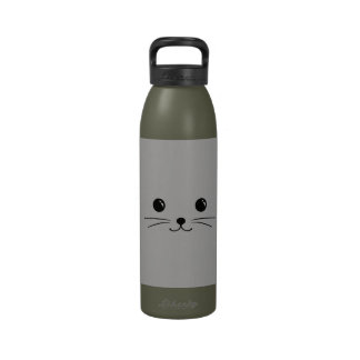 Silver Mouse Cute Animal Face Design Drinking Bottles