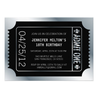 Silver Movie Ticket Custom Invitations