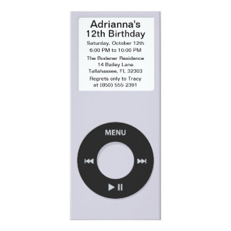 Silver MP3 Player iParty Birthday Party Card