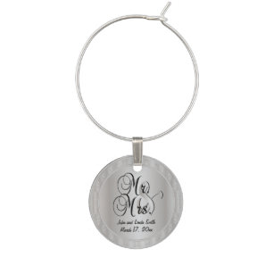 Anniversary Wedding Wine Glass Charms & Tags | Zazzle