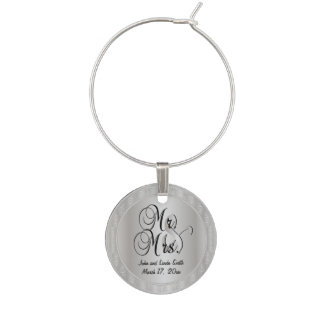 Silver Mr. and Mrs. Wedding or Anniversary Wine Glass Charm