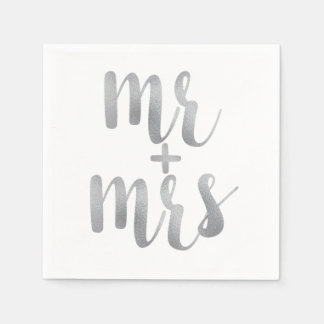 Silver Mr. & Mrs. cocktail napkins